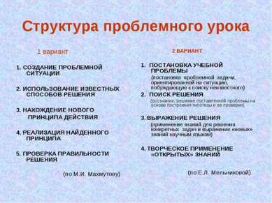 Структура проблемного урока 1 вариант 1. СОЗДАНИЕ ПРОБЛЕМНОЙ СИТУАЦИИ 2. ИСПО...