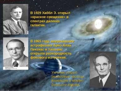 В 1929 Хаббл Э. открыл «красное смещение» в спектрах далеких галактик. В 1965...