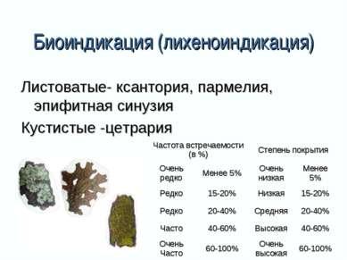 Биоиндикация (лихеноиндикация) Листоватые- ксантория, пармелия, эпифитная син...