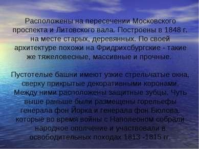 Расположены на пересечении Московского проспекта и Литовского вала. Построены...