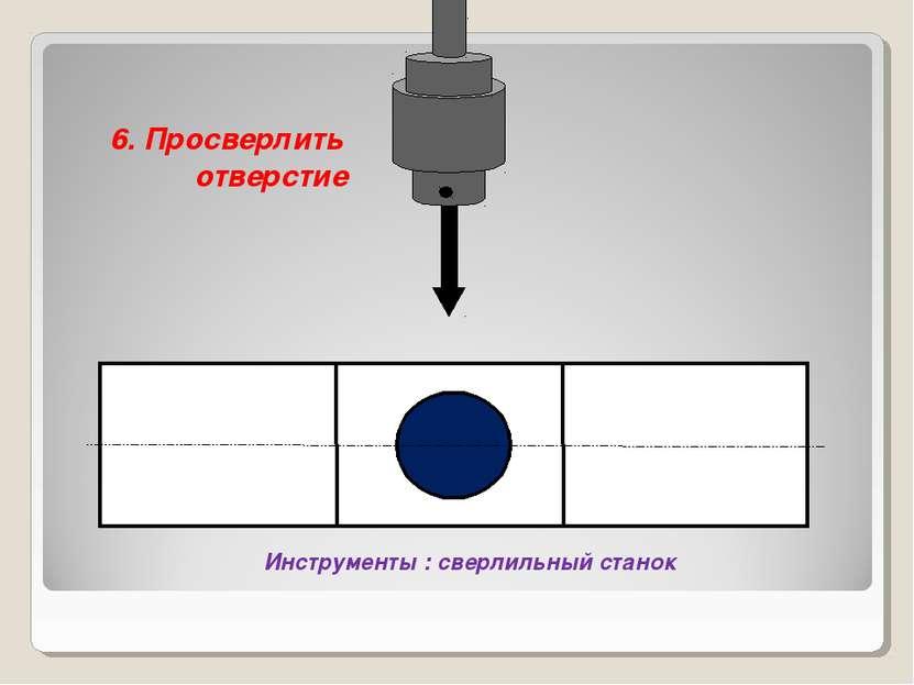 6. Просверлить отверстие Инструменты : сверлильный станок