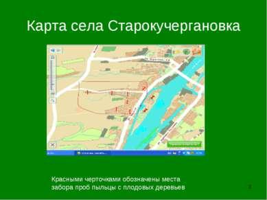 * Карта села Старокучергановка Красными черточками обозначены места забора пр...
