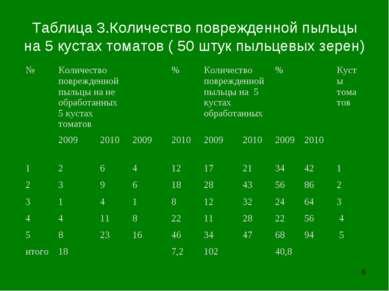 * Таблица 3.Количество поврежденной пыльцы на 5 кустах томатов ( 50 штук пыль...