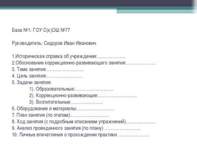 База №1: ГОУ С(к)ОШ №77 Руководитель: Сидоров Иван Иванович 1.Историческая сп...