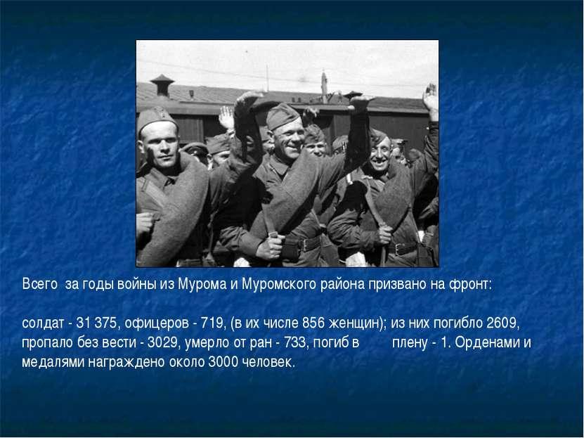 Всего за годы войны из Мурома и Муромского района призвано на фронт: солдат ...