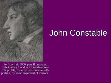 John Constable Self-portrait 1806, pencil on paper, Tate Gallery London. Cons...