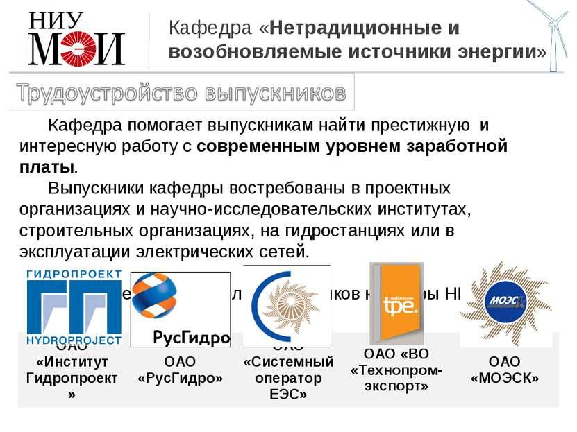 Кафедра «Нетрадиционные и возобновляемые источники энергии» НИУ Кафедра помог...