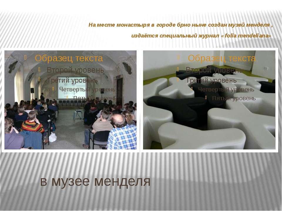 в музее менделя На месте монастыря в городе брно ныне создан музей менделя , ...