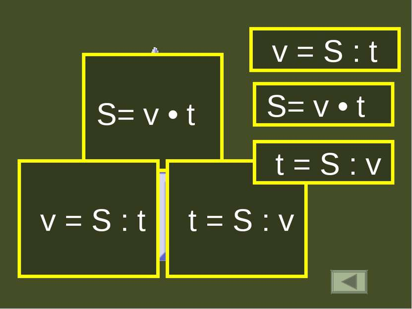 S= v • t t = S : v v = S : t S= v • t v = S : t t = S : v