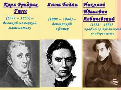 Николай Иванович Лобачевский Карл Фридрих Гаусс (1777 – 1855) – великий немец...