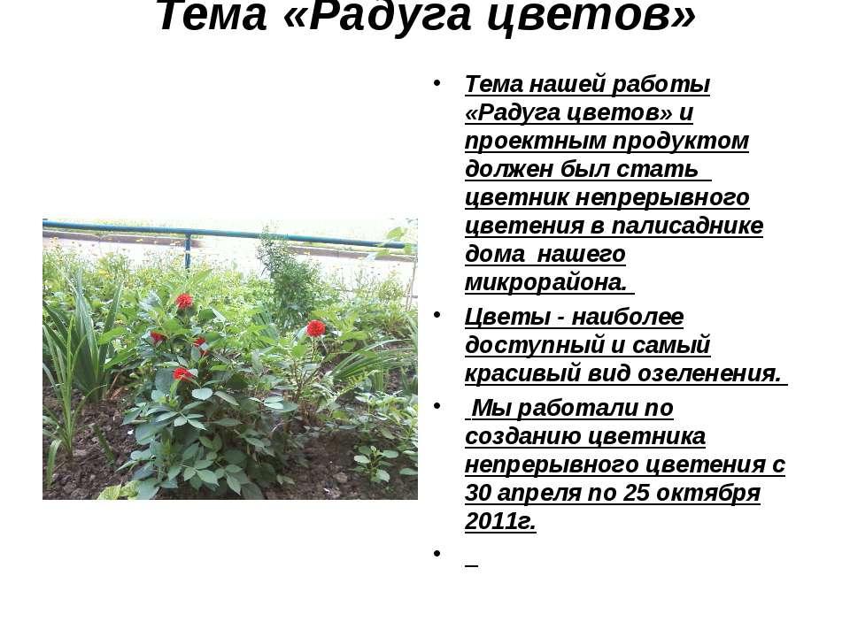 Тема «Радуга цветов» Тема нашей работы «Радуга цветов» и проектным продуктом ...