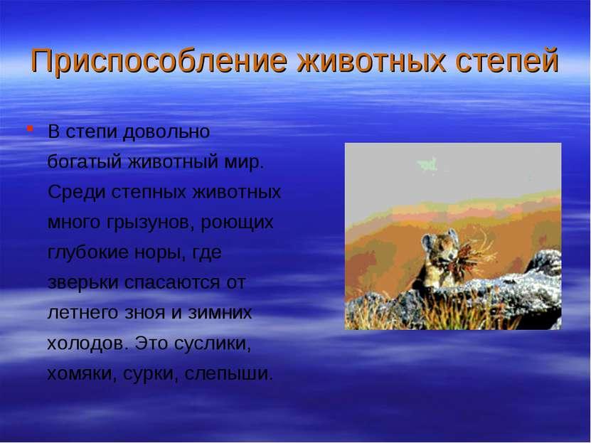 Приспособление животных степей В степи довольно богатый животный мир. Среди с...