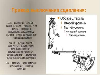 Привод выключения сцепления: /, 22— валики; 2, 11, 20, 25— вилки; 3. 13, 24 —...