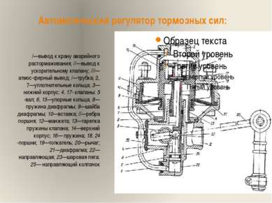 Автоматический регулятор тормозных сил: /—вывод к крану аварийного растормажи...