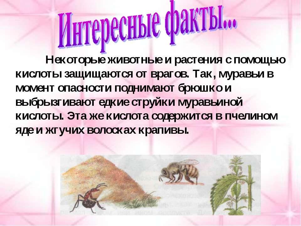 Некоторые животные и растения с помощью кислоты защищаются от врагов. Так, му...