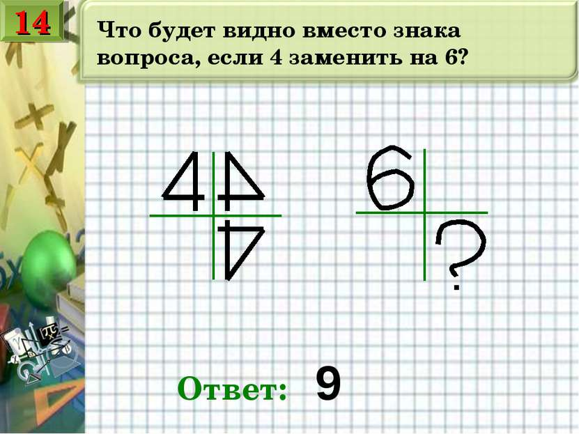 Что будет видно вместо знака вопроса, если 4 заменить на 6? Ответ: 9 14