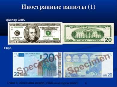 Иностранные валюты (1) Доллар США Евро 33. Обменные курсы валют