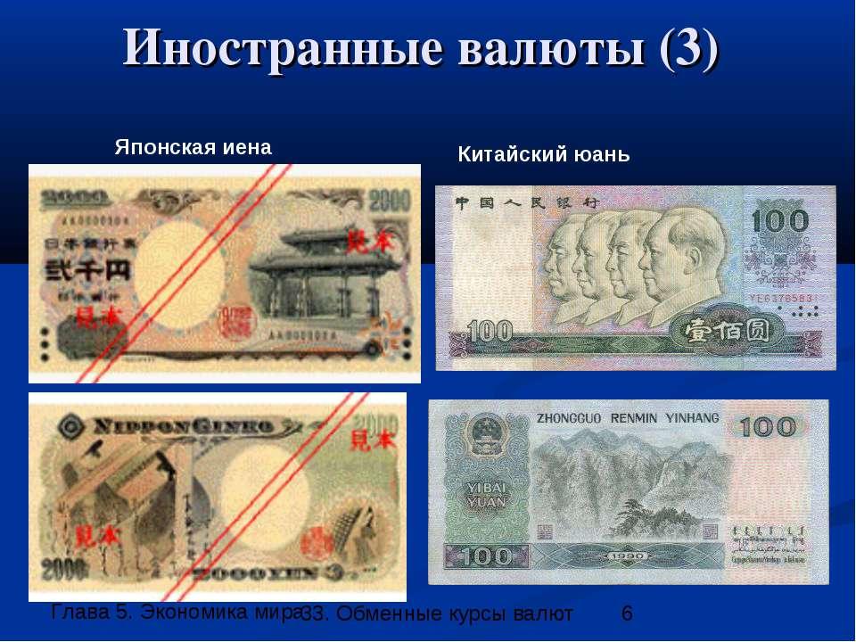 Иностранные валюты (3) Японская иена Китайский юань 33. Обменные курсы валют