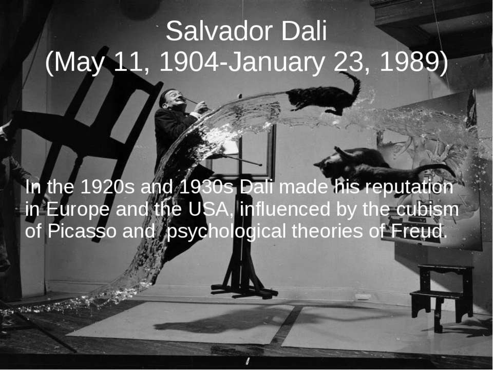 Salvador Dali (May 11, 1904-January 23, 1989) In the 1920s and 1930s Dali mad...