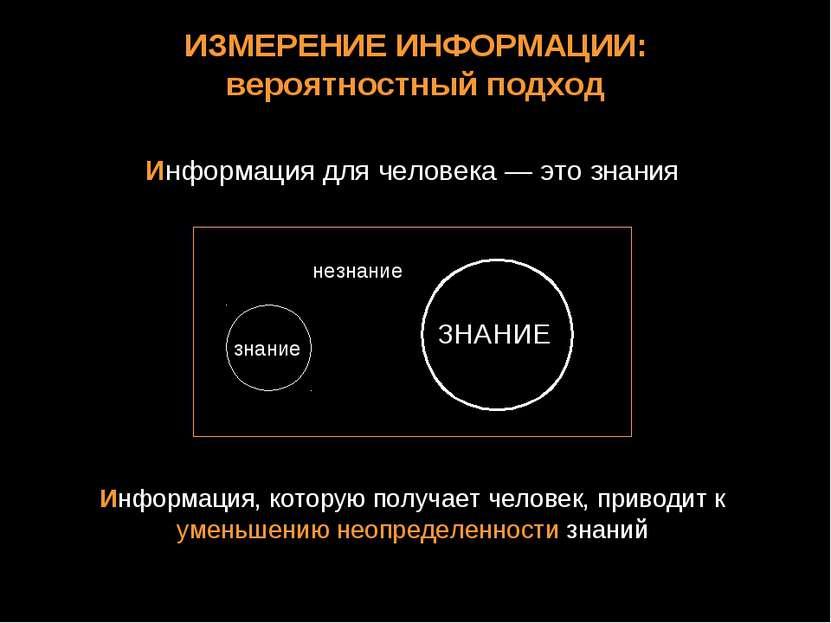 ИЗМЕРЕНИЕ ИНФОРМАЦИИ: вероятностный подход Информация для человека — это знан...