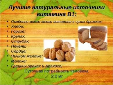 Лучшие натуральные источники витамина В1: Особенно много этого витамина в сух...
