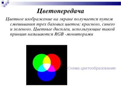 Цветопередача Цветное изображение на экране получается путем смешивания трех ...