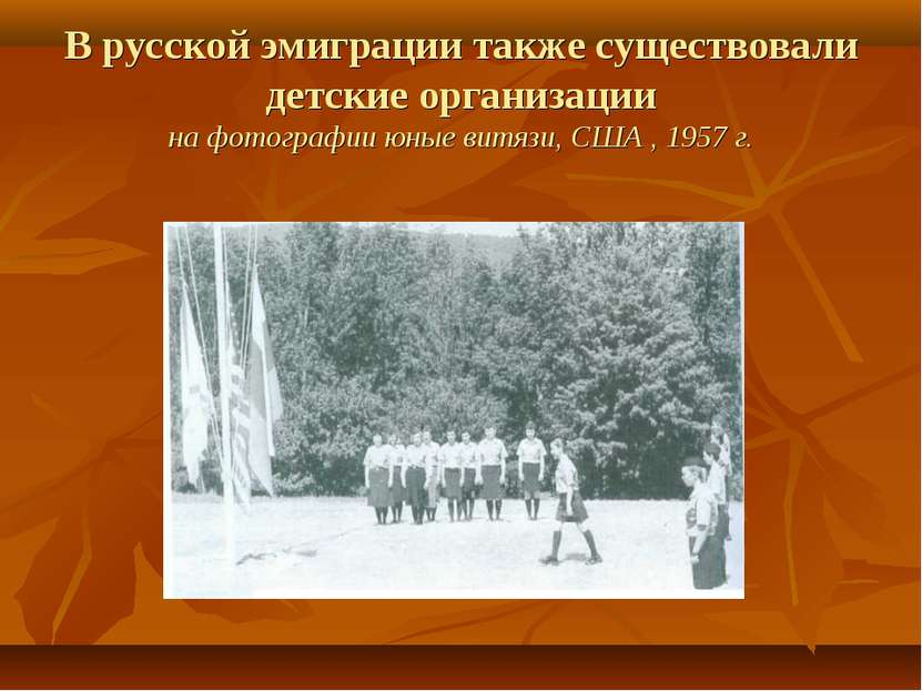 В русской эмиграции также существовали детские организации на фотографии юные...