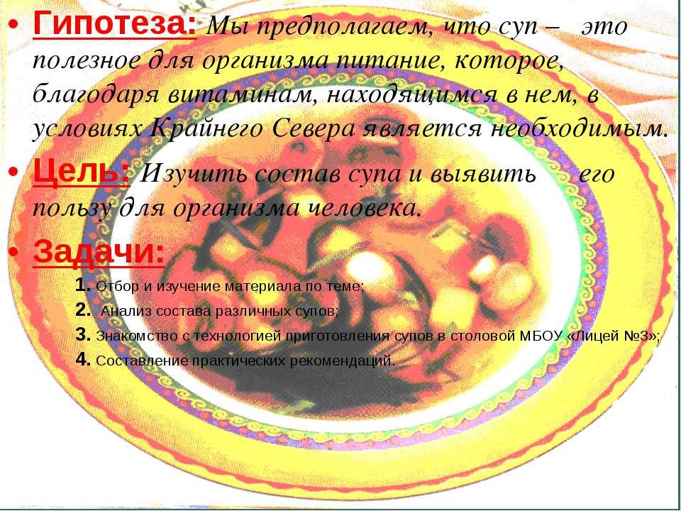 Гипотеза: Мы предполагаем, что суп – это полезное для организма питание, кото...
