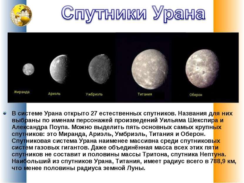 В системе Урана открыто 27 естественных спутников. Названия для них выбраны п...