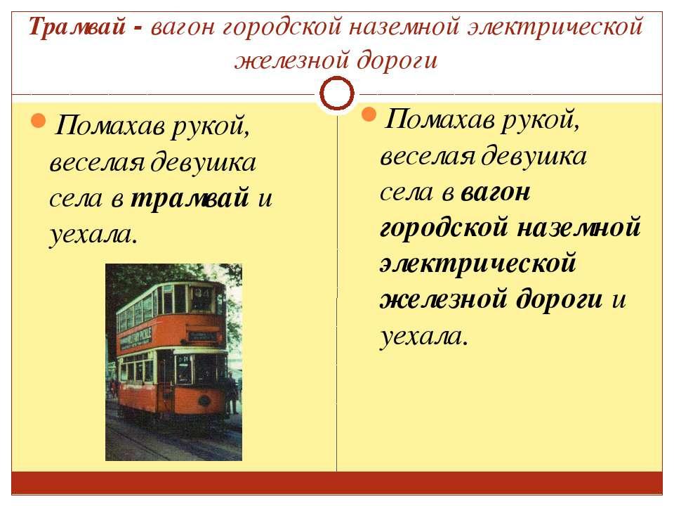 Трамвай - вагон городской наземной электрической железной дороги Помахав руко...