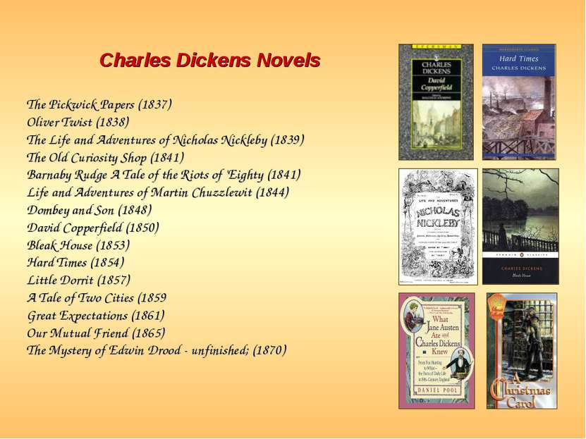 Charles Dickens Novels The Pickwick Papers (1837) Oliver Twist (1838) The Lif...