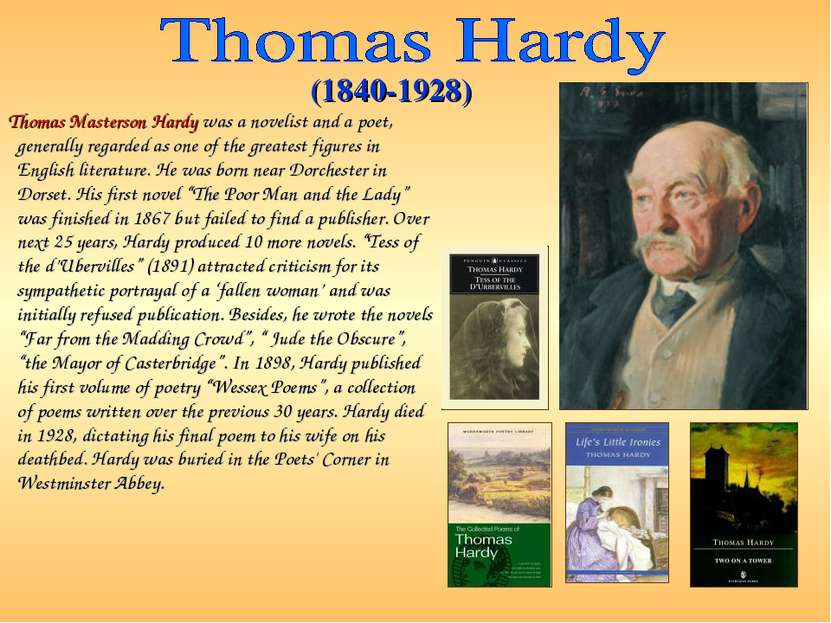 Thomas Masterson Hardy was a novelist and a poet, generally regarded as one o...