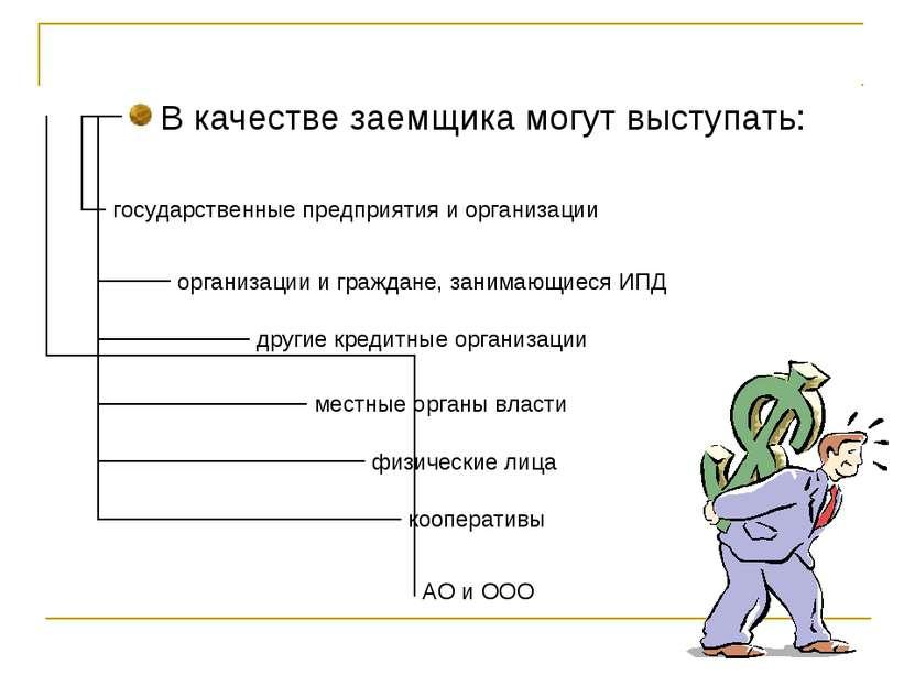 В качестве заемщика могут выступать: государственные предприятия и организаци...