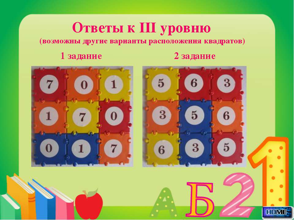 Ответы к III уровню (возможны другие варианты расположения квадратов) 1 задан...