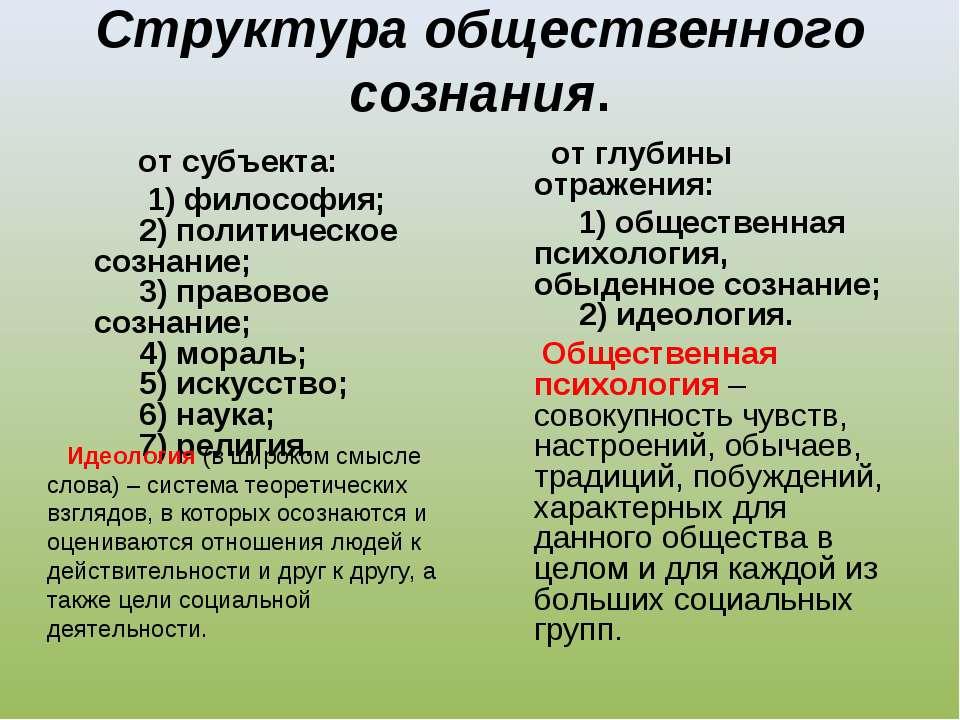 Структура общественного сознания. от субъекта: 1) философия;   2) политич...