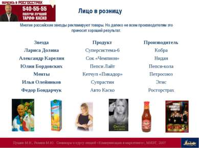 Многие российские звезды рекламируют товары. Но далеко не всем производителям...