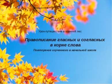 Правописание гласных и согласных в корне слова Повторение изученного в началь...