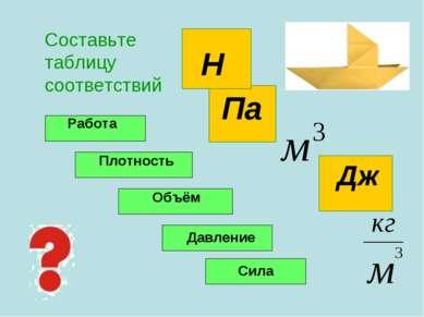 Дж Па Составьте таблицу соответствий Н Работа Плотность Объём Давление Сила
