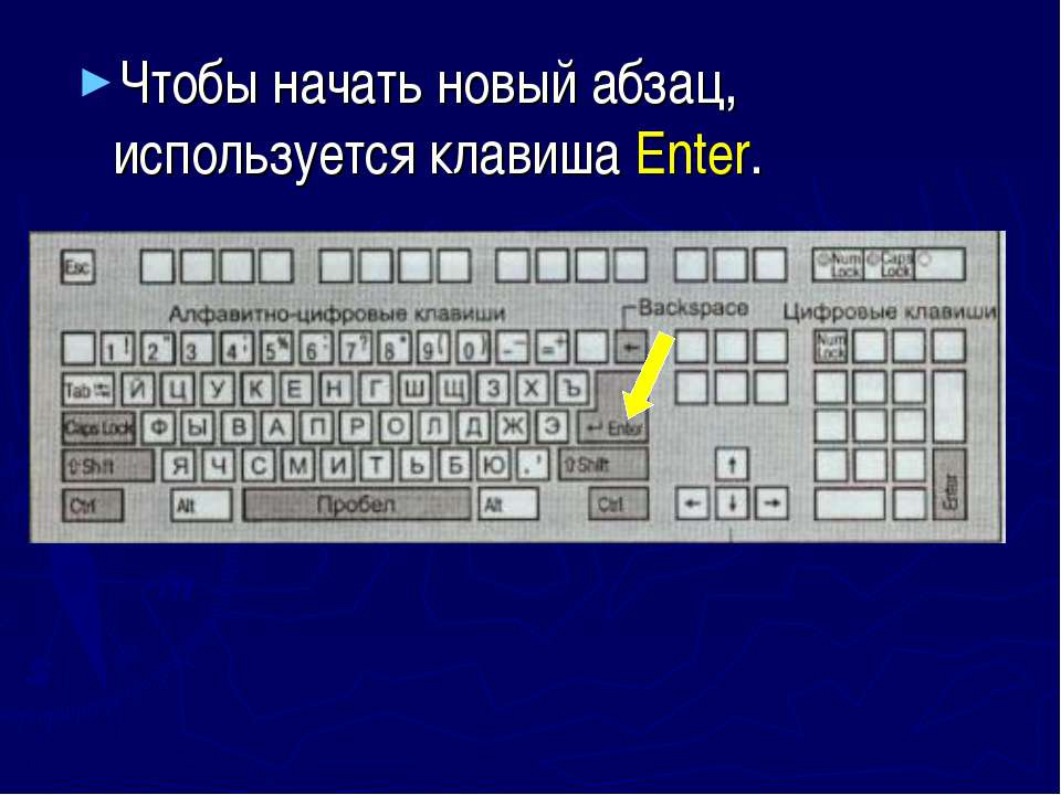 Чтобы начать новый абзац, используется клавиша Enter.