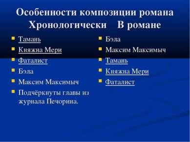 Особенности композиции романа Хронологически В романе Тамань Княжна Мери Фата...