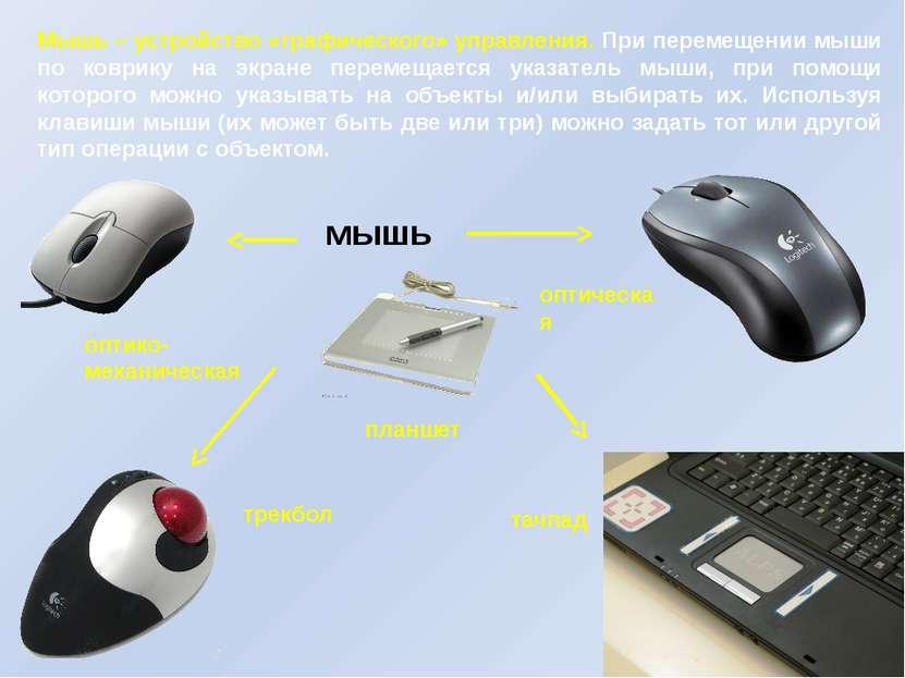 Мышь – устройство «графического» управления. При перемещении мыши по коврику ...