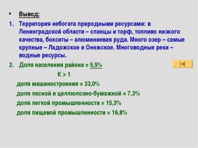 Вывод: Территория небогата природными ресурсами: в Ленинградской области – сл...