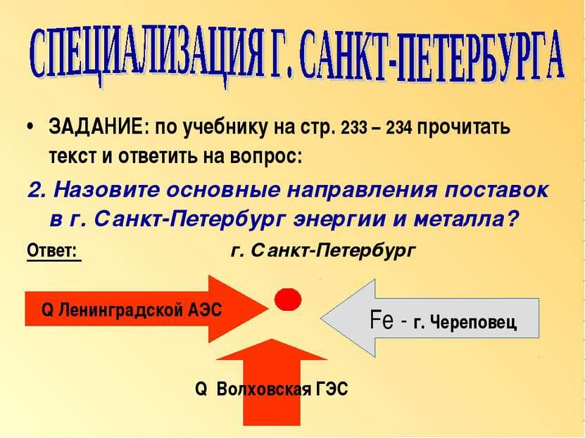 ЗАДАНИЕ: по учебнику на стр. 233 – 234 прочитать текст и ответить на вопрос: ...