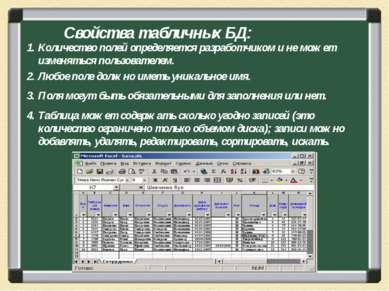 Свойства табличных БД: Количество полей определяется разработчиком и не может...