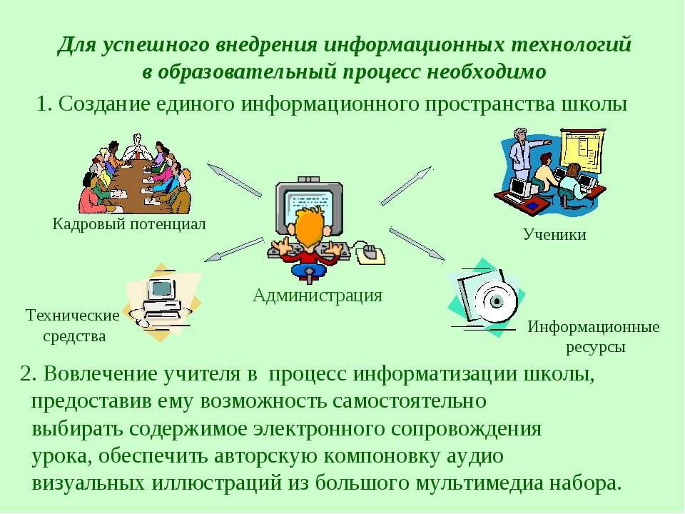 Для успешного внедрения информационных технологий в образовательный процесс н...