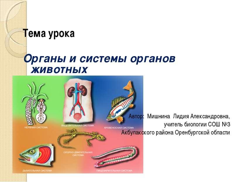 Тема урока Органы и системы органов животных Автор: Мишнина Лидия Александров...