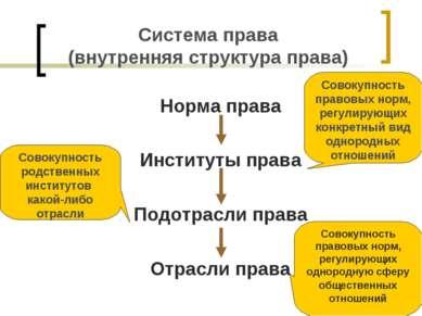 Система права (внутренняя структура права) Норма права Институты права Подотр...