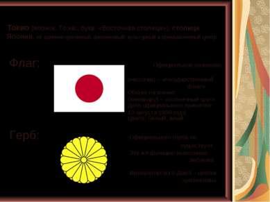 Токио (японск. То:кё:, букв. «Восточная столица»), столица Японии, её админис...