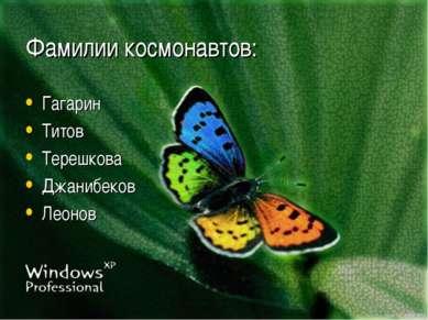 Фамилии космонавтов: Гагарин Титов Терешкова Джанибеков Леонов