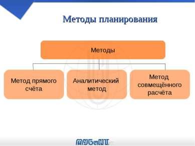 Методы планирования Методы Метод прямого счёта Аналитический метод Метод совм...